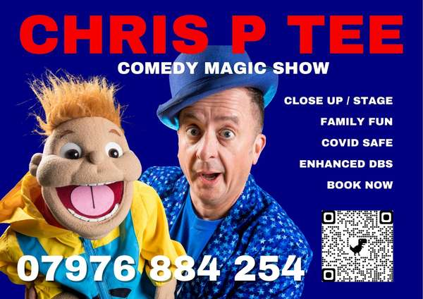 Chris P Tee picture with contact details and QR code